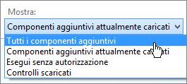 Gestire la finestra di dialogo componenti aggiuntivi che mostra l'elenco a discesa caricati componenti aggiuntivi.
