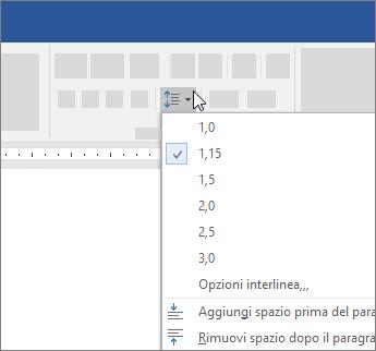 Opzioni interlinea nella finestra di dialogo paragrafo
