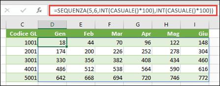 Esempio di funzione SEQUENCE annidata con INT e CASUALE per creare un set di dati di esempio