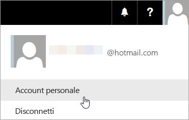 Acquisizione di schermata che mostra la selezione di Account personale nell'elenco a discesa.