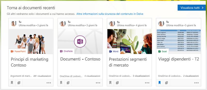 Fare clic su un documento per aprirlo oppure su Visualizza tutto per vedere altri documenti