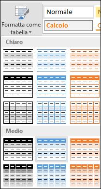 Selezioni nella Raccolta stili di Excel per Formatta come tabella
