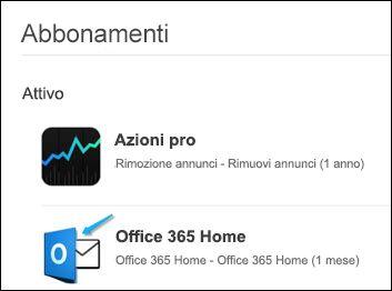 L'immagine mostra che Outlook è stato usato per acquistare Office 365.