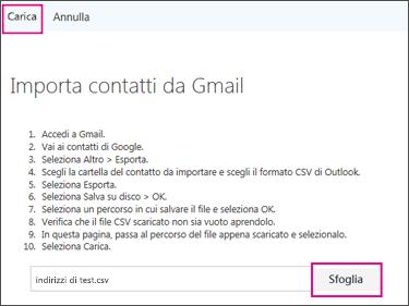 Scegliere Sfoglia per trovare il file CSV e quindi Carica per importarlo nell'account di Office 365.