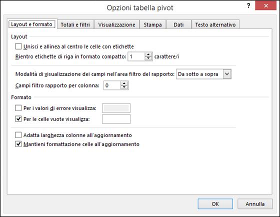 Finestra di dialogo Opzioni tabella pivot