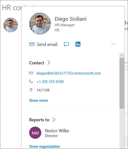 Web part utenti in un sito hub moderno di esempio in SharePoint Online