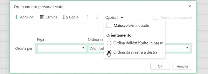 """Aprire il menu """"Opzioni di ordinamento"""" in Ordinamento personalizzato e selezionare Ordina da sinistra a destra"""