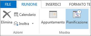 Pulsante Assistente Pianificazione di Outlook 2013.