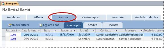 Scheda Fatture del modello di database Servizi