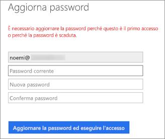 Office 365 richiede all'utente di creare una nuova password.