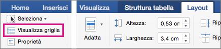 Opzione Visualizza griglia evidenziata nella scheda Inserisci