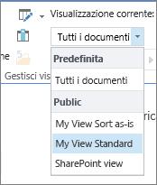 Elenco Visualizzazione corrente sulla barra multifunzione