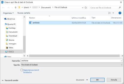 """Selezionare il file denominato """"archivio""""."""