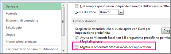 Opzione di Excel per disattivare la schermata Start all'avvio di Excel