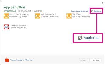 Pulsante Aggiorna in App per Office