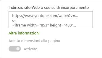 Incollare l'URL di un video o il codice di incorporamento nel campo