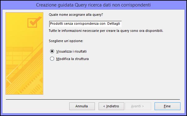 Immettere un nome per la query nella finestra di dialogo Creazione guidata Query ricerca dati non corrispondenti