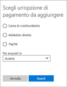 Menu per la scelta del metodo di pagamento, con le opzioni disponibili per l'Austria.
