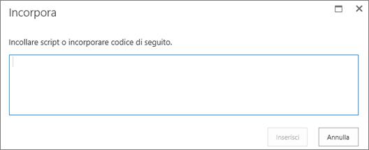 Screenshot della finestra di dialogo Incorpora di SharePoint Online che consente di incollare codice di incorporamento o script per file video o audio e quindi di inserire il codice.
