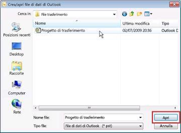 Finestra di dialogo Crea/apri file di dati di Outlook