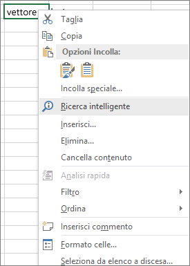 Ricerca intelligente nel menu di scelta rapida in Excel 2016 per Windows