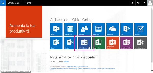 Selezionare un'app di Office Online