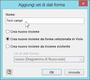 Finestra di dialogo Aggiungi set di dati forma
