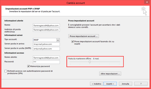 È possibile modificare il tempo di permanenza della posta offline.