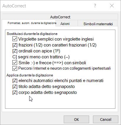 Opzioni di formattazione automatica durante la digitazione scheda