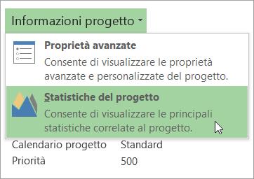 Opzioni di Informazioni progetto