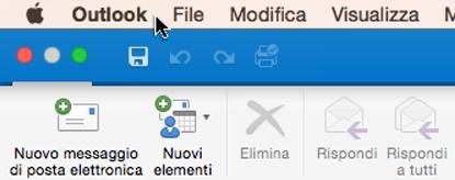 Per verificare la versione di Outlook in uso, scegliere Outlook sulla barra dei menu.