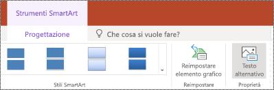 Pulsante testo alternativo sulla barra multifunzione per un elemento grafico SmartArt in PowerPoint online.