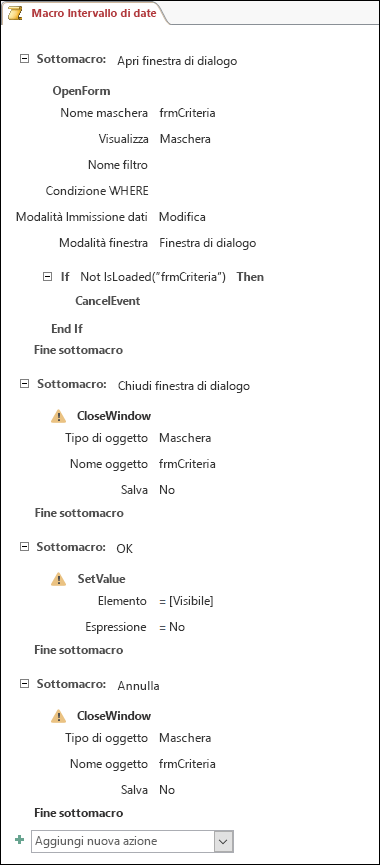 Schermata di una macro di Access con quattro sottomacro e azioni.