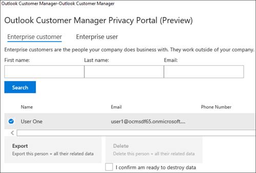 Screenshot: esportare i dati del cliente di Outlook Customer Manager