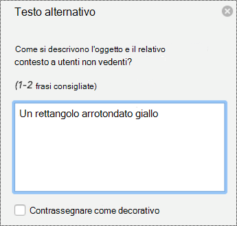 Riquadro di testo alternativo per le forme in PowerPoint per Mac in Office 365