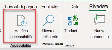 Schermata dell'interfaccia utente per aprire Verifica accessibilità