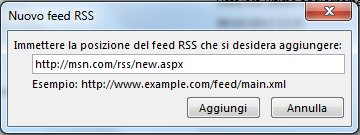 Immettere l'URL del feed RSS