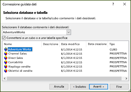 Connessione guidata dati > Seleziona database e tabella