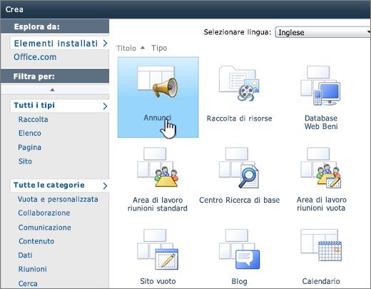 Pagina Crea elenco o raccolta di SharePoint 2010 con annunci evidenziati
