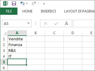 Creare l'elenco a discesa di voci in una singola colonna o riga in Excel