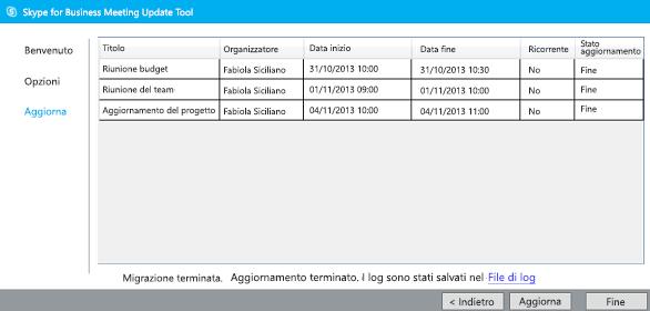schermata di completamento dello strumento di migrazione delle riunioni