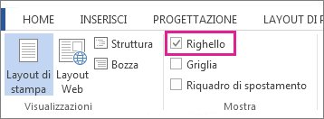 Screenshot della scheda Visualizza in Word 2013, che mostra l'opzione Righello selezionata ed evidenziata.