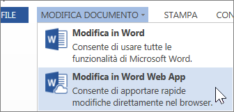 Opzione di menu Modifica in Word Web App