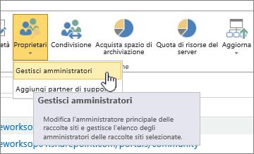 Pulsante Proprietari per l'amministratore del sito di SPO con Gestisci amministratori evidenziato.