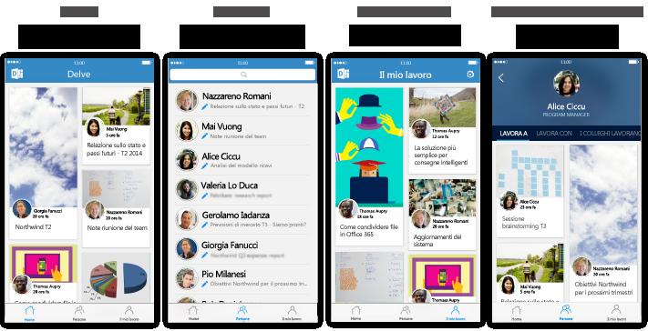Quattro schermate di Delve per iPhone con testo descrittivo