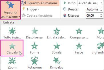 Aggiungere un effetto di animazione in PowerPoint