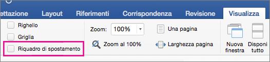 Riquadro di spostamento selezionato nella scheda Visualizza