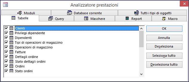 Finestra di dialogo Analizzatore prestazioni in Access