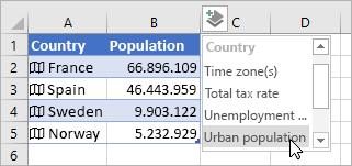 Seconda colonna di dati aggiunti