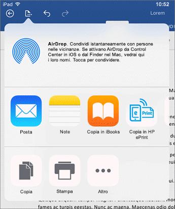 La finestra di dialogo Apri in un'altra app consente di inviare il documento a un'altra app per l'invio tramite posta elettronica, la stampa o la condivisione.